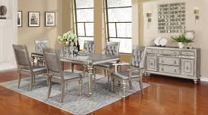 room table displays coaster set driftwood: danette metallic platinum rectangular dining room set