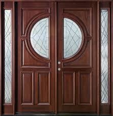 interior double glass door with half round shape plus brown wooden frame and narrow glass brown solid wood shape home