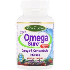 Paradise Herbs, <b>Omega Sure</b>, <b>Omega-3 Premium</b> Fish Oil, 1,000 mg ...