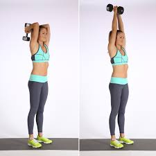 Image result for woman tricep overhead extension workout