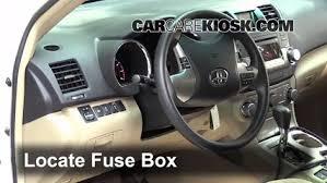 interior fuse box location toyota highlander  locate interior fuse box and remove cover