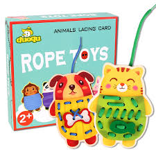 2108 <b>NEW Wooden toy Animal</b> rope game/ Animals Lacing Card ...