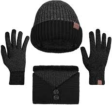 <b>3 Pieces</b> Winter Beanie Hat Scarf Touch Screen Gloves Knitted Cap ...