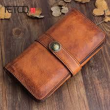 <b>AETOO Original</b> design <b>handmade retro</b> leather men's long wallet ...