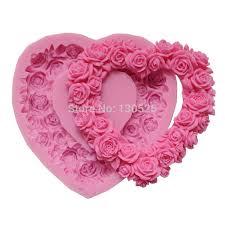 2018 <b>Big Size Rose Silicone</b> Mold Rose Heart Wreath Silicone ...