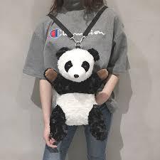 <b>Backpack Female Plush Furry</b> Panda Cartoon Cute Multi Function ...
