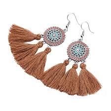 Tassel Fringe Earrings Handmade Embroidery thread ... - Amazon.com