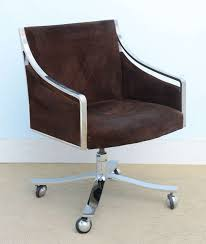 mid century modern brown leather swivel desk chair with chrome base chair mid century office