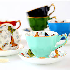 170ml <b>Fashion ceramic coffee cup</b> set butterfly design afternoon tea ...