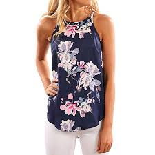 WLLW <b>Women</b> Crew Neck Sleeveless Floral <b>Print Shirt Tops Tee</b> ...