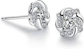 <b>SA SILVERAGE</b> Sterling Silver Stud Earrings Round Flower <b>Cubic</b> ...