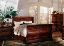 5 pc queen bed hand carved solid mahogany wood sleigh bedroom suite set british colonial bedroom furniture