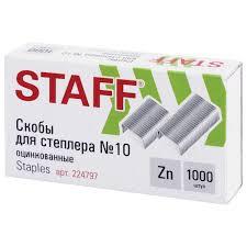 """<b>Скобы для степлера</b> №10, 1000 штук, РОССИЯ, STAFF """"Basic ..."""