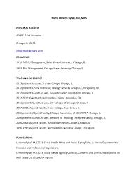 adjunct faculty resume of marki lemons ryhal