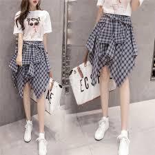 womens summer plaid shorts elastic high waist wide leg thin chiffon with belt