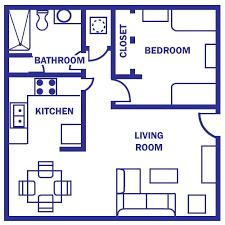 One bedroom apartments  One bedroom and Bedroom apartment on Pinterestfloor plan under sq ft   Standard Floor Plan  One Bedroom Apartment