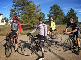 colorado triple crown golden anti gravity epic century trevor connor chris case steve rudolph and tom miller at the top of lininger drive the first climb during a long day of climbing