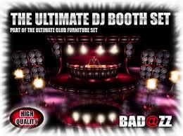 booth set design zoom badzz ultimate dj table black red dj stage and  speakers turntables mi