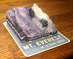 mt everest d paper model d paper terrain models mt everest paper model cut from banknotes