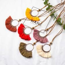 <b>Boho Bohemian</b> Ethnic Leather Rope <b>Round</b> Tassel Pendant ...