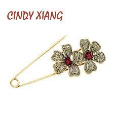 <b>CINDY XIANG 2 Colors</b> Available Rhinestone Flower Big Pin ...