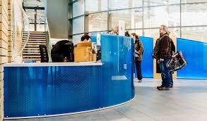 panelite bonded series translucent honeycomb panels partitions curved citedo sochaux aquatics center agence 2a philippe de blue curved office desk dividers