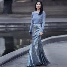 Street Style Fashion <b>Shiny Mermaid</b> Long Skirts Womens <b>Silver</b> ...