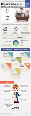 what employers want and what candidates need to get skill sets to resume etiquette do s and don ts for a modern resume infographic careers