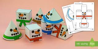 3D <b>Snowman Shapes Christmas</b> Nets Paper Craft