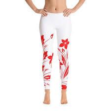 Flower Pattern White Red Art <b>Womens</b> Leggings Floral Red Artwork ...
