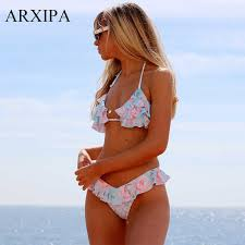 2019 <b>ARXIPA Ruffle Bikini</b> Set Floral <b>Swimsuit</b> String Swimwear ...