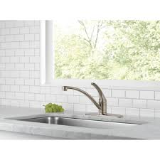 foundations single handle standard kitchen faucet delta foundations single handle standard kitchen faucet in stainless b