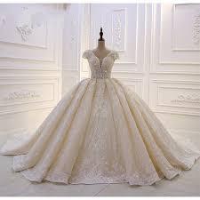 Luxury <b>Light Champagne Lace</b> Appliqued <b>Ball</b> Gown Wedding ...