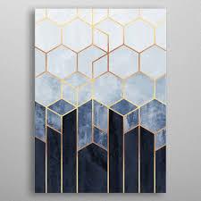 Soft Blue Hexagons <b>Abstract</b> Poster Print | metal posters | Art deco ...