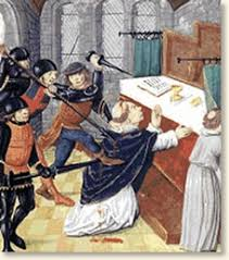 the murder of thomas becket  thomas beckett from a contemporary manuscript   quot