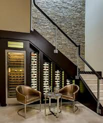 view in gallery custom built cooler with led lighting for the wine cellar under stairs design box version modern wine cellar furniture