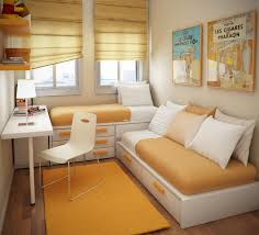 fascinating liitle boys bedroom design with double daybed equipped storage drawers and white painted wooden desk equipped white fiberglass chair on orange bedroom sweat modern bed home office room