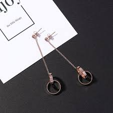 【In Stock】<b>Korean Version Titanium Steel</b> Long Earrings Rose Gold ...
