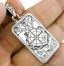 <b>wheel of fortune</b> tarot card dog tag sterling <b>925</b> silver pendant
