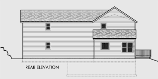 Sloping Lot House Plans  House Plans With Side Garage  Narrow LotHouse rear elevation view for Sloping lot house plans  house plans   side garage