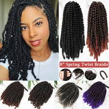 "8"" Fluffy <b>Spring Twist</b> Hair Extensions <b>Crochet Braids</b> Synthetic ..."