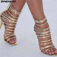 <b>TINGHON Sexy</b> Crystal High Heels Sandals Thin Heels Gladiator ...