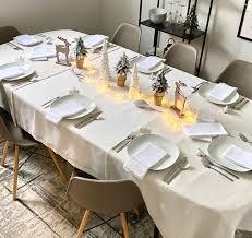 <b>White</b> Christmas / Decorative table set with <b>tablecloth</b> - 3-<b>5</b> Set