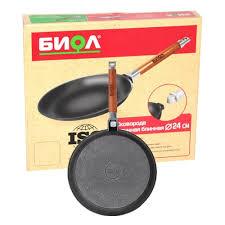 <b>Сковорода</b> блинная <b>БИОЛ</b> со съемной ручкой, 22 см — купить <b>в</b> ...