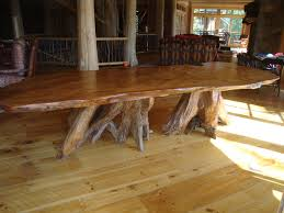 long wood dining table: rustic table large rustic curly redwood slab table