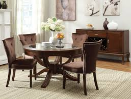 kitchen pedestal dining table set: acme kingston  pc glass top round pedestal dining table set in brown cherry