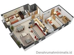 denah rumah 1 lantai dengan 3 kamar tidur: Denah rumah minimalis sempit 3d 1 lantai 3 kamar tidur denah