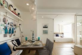 home office in dining room the same blue and white color scheme we see begin at blue white home office