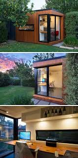 backyard home office. this prefab backyard home office is covered in wood and black trim surrounds the windows sliding door f