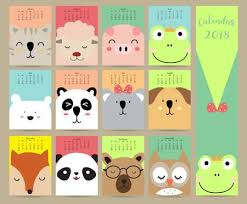 Colorful Pastel Monthly Calendar 2018 With <b>Cat</b>,<b>sheep</b>,pig,frog,bear ...